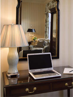 hotel work desk, hotel amenities, hotel room
